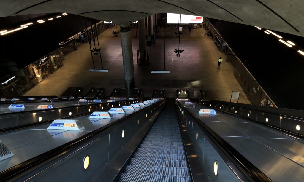 picture shows Canary Wharf station empty as all banks close they offices