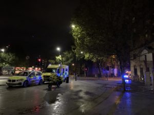 Police and Ambulance parked up outside accommodation in London, after an alleged violent break in.