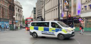 Police van patrolling central London